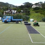 Tennis court resurfacing underway