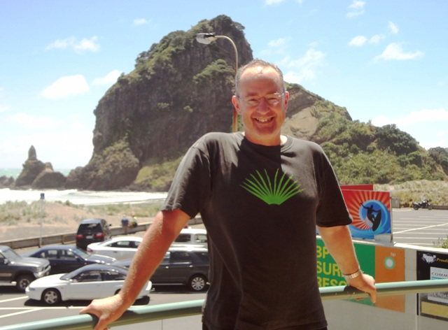 Phil Twyford at Piha Surf Club en route on Hillary Trail
