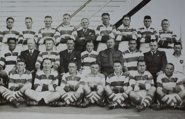 Auckland team 1942, with Fred Lucas in suit 3rd from left in middle row, Tom Pearce, extreme right back row, and Lindsey Schubert, front right (sitting)