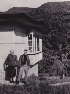 Mary MacDiarmid and son Douglas at Piha