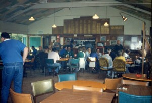Interior of Bowling Club  mid-1980s, note multi-coloured roof, now painted white