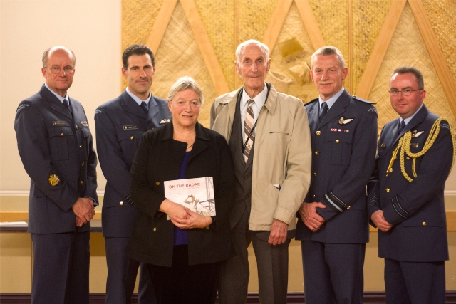Brendan Lamain, Wing Commander Chris Clarke, Base Auckland, the author Sandra Coney, WW2 radar mechanic Ian Sexton, Air Vice-Marshall Peter Stockwell, Chief of Air Force and Squadron Leader Brent Iggo.