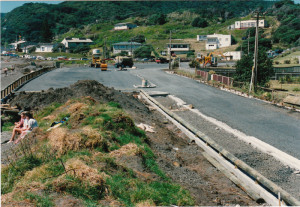 Formation of carpark on top of dunes on Marine Parade South, 1988