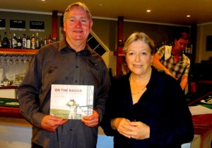 Peter Brown, president of Piha surf club with author Sandra Coney at her radar station talk