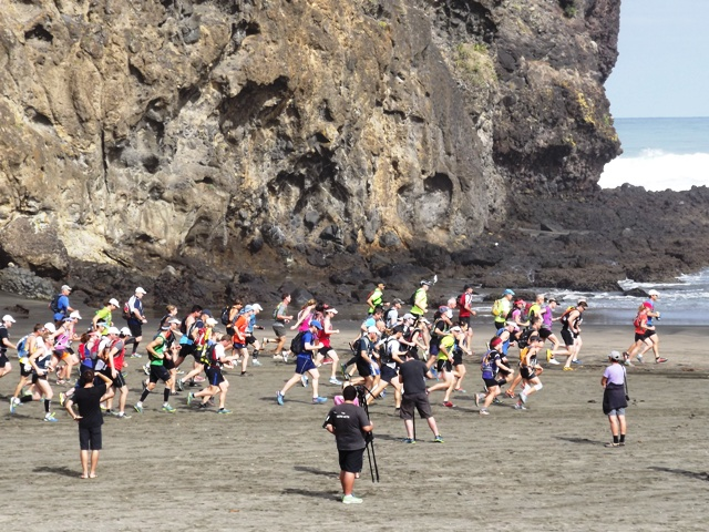 Start of the race at Piha beach