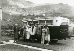 Piha bus at boarding house, about 1936.