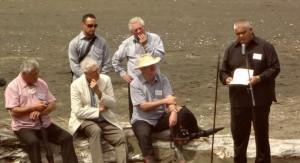 Te Warena Taua speaking, with Bob Harvey and Graeme Murdoch