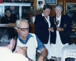 George Potter on the left at the Bowler, Rosalie Pringle and G Collins with the ladies pairs cup