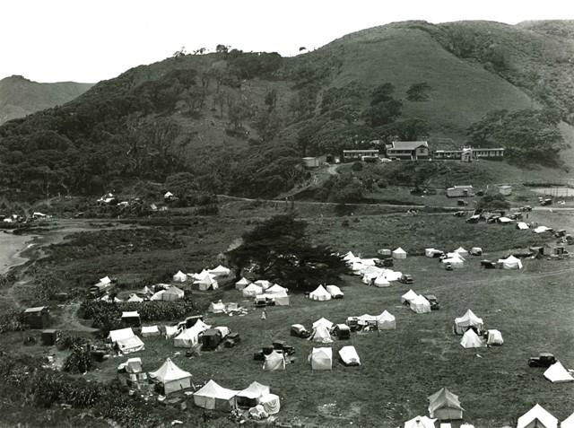 Piha campground about 1937 Copyright photo