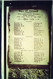 The WW1 plaque when installed 1919
