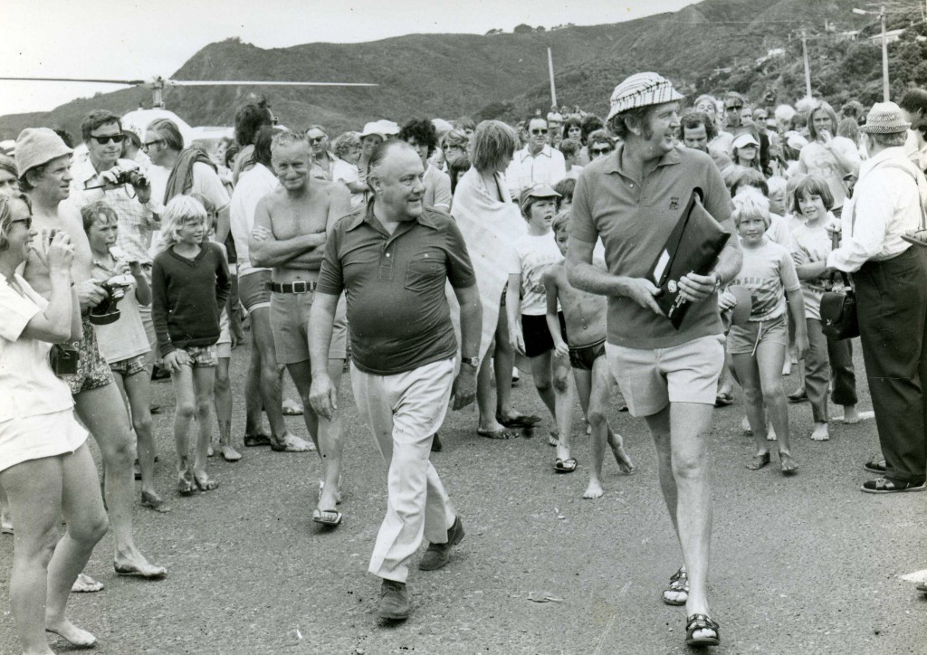 Massicks with Rob Muldoon at the opening of renovated surf club, 1977