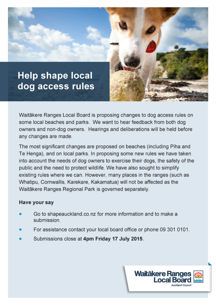 Dog access rules flyer